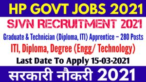 SJVN Apprentice Recruitment 2021